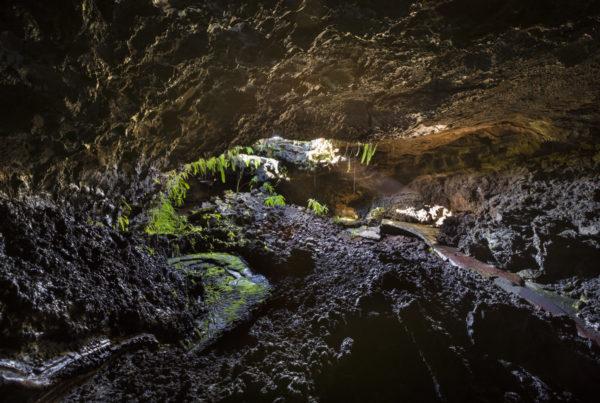Tunnel de lave du volcan piton de la fournaise